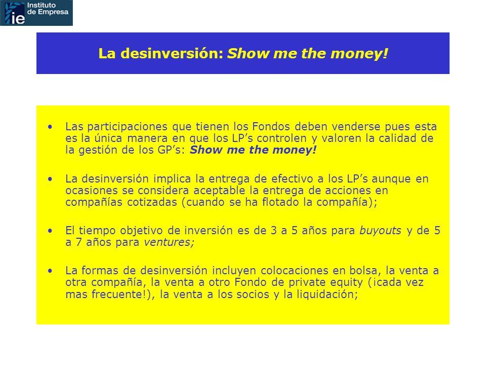 Las participaciones que tienen los Fondos deben venderse pues esta es la única manera en que los LPs controlen y valoren la calidad de la gestión de los GPs: Show me the money.