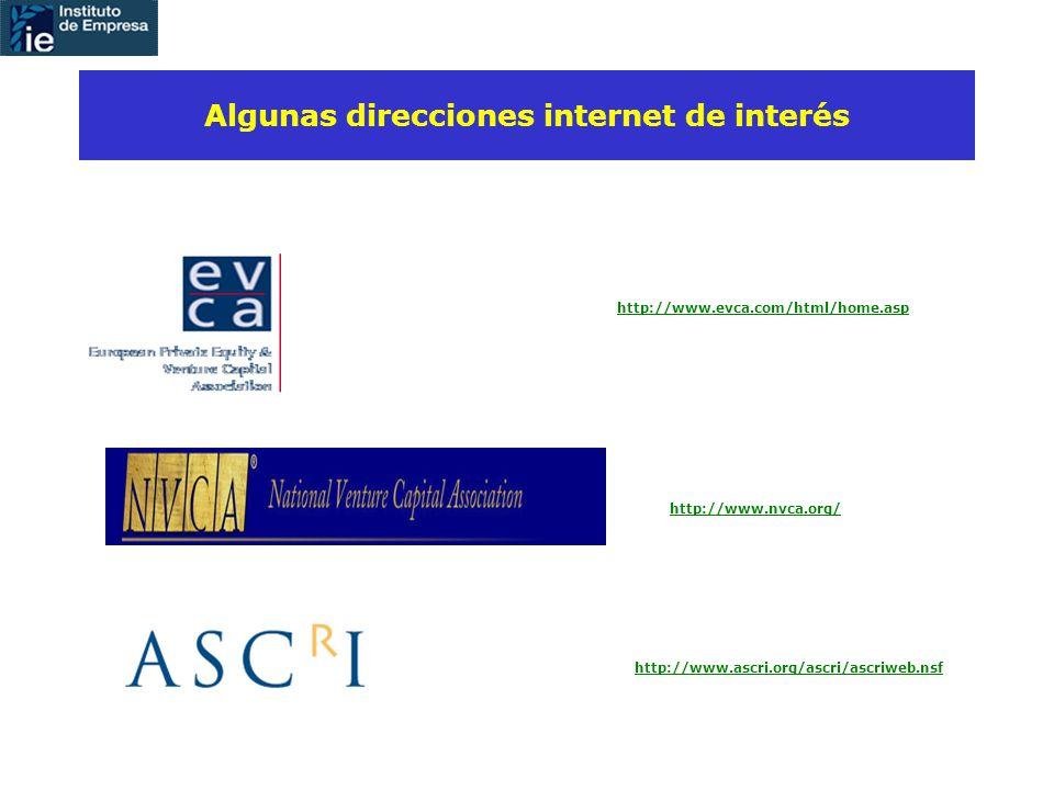 http://www.evca.com/html/home.asp Algunas direcciones internet de interés http://www.nvca.org/ http://www.ascri.org/ascri/ascriweb.nsf