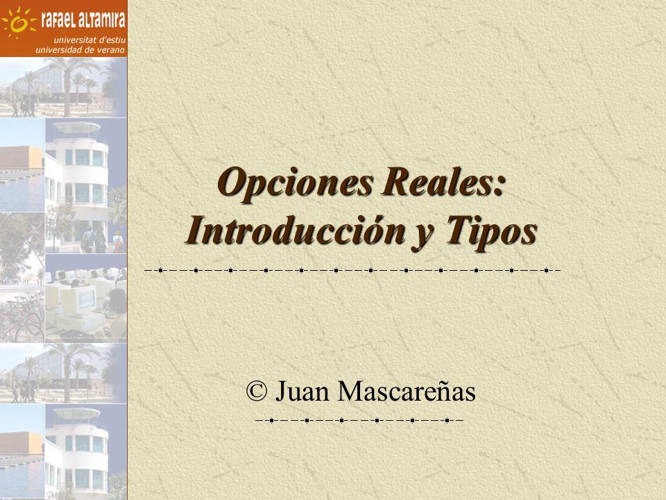 © Juan Mascareñas Opciones reales exclusivas versus compartidas Si aumenta el riesgo aumenta la opción de diferir el proyecto Kester observó lo contrario.