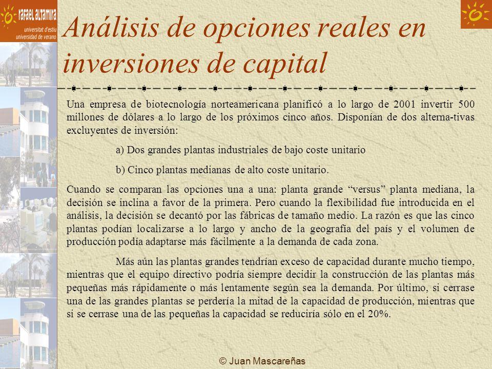 © Juan Mascareñas Análisis de opciones reales en inversiones de capital Una empresa de biotecnología norteamericana planificó a lo largo de 2001 inver