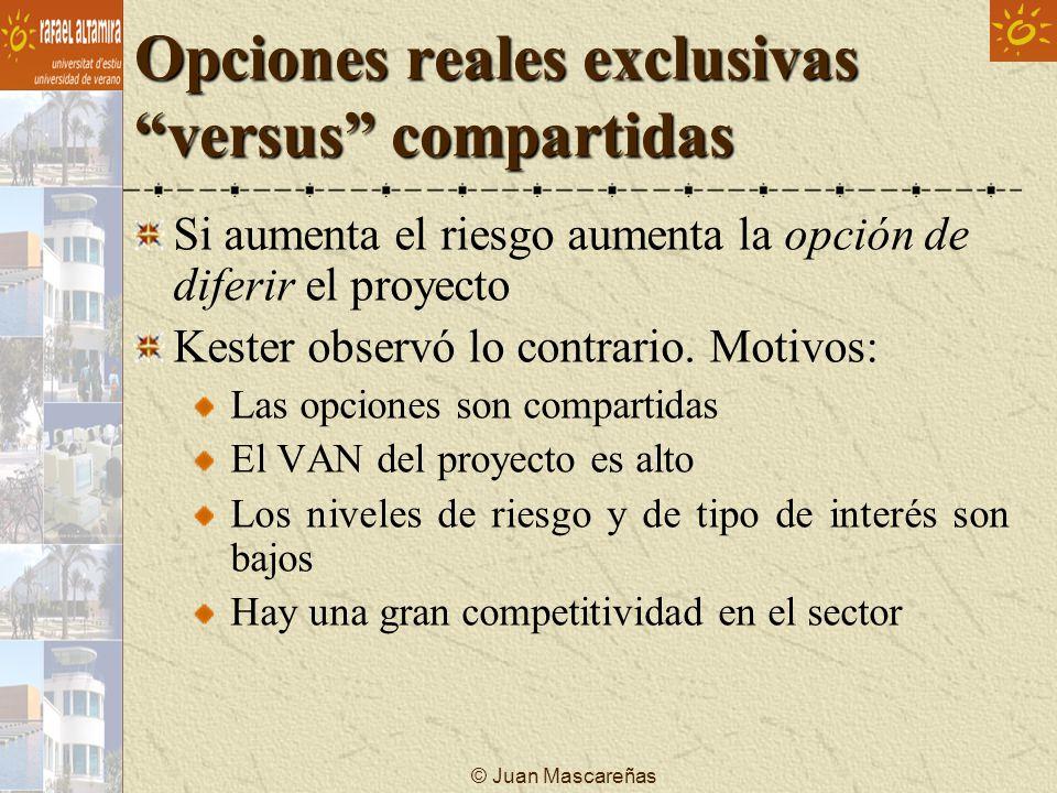 © Juan Mascareñas Opciones reales exclusivas versus compartidas Si aumenta el riesgo aumenta la opción de diferir el proyecto Kester observó lo contra