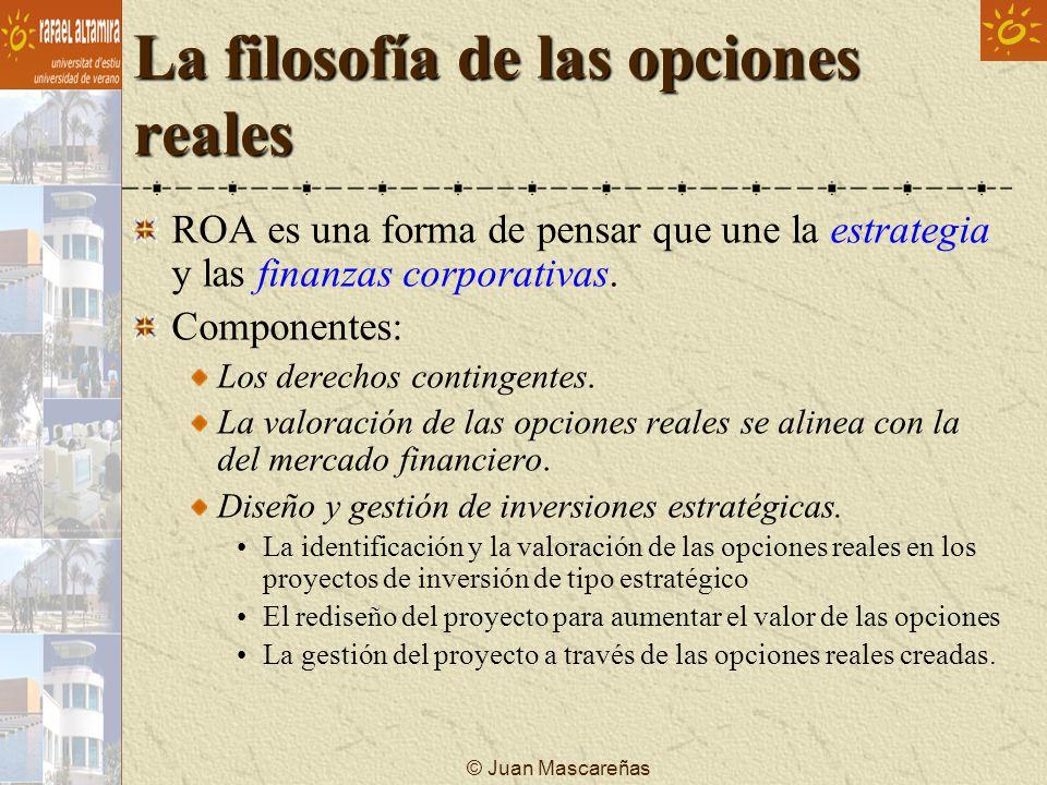 La filosofía de las opciones reales ROA es una forma de pensar que une la estrategia y las finanzas corporativas. Componentes: Los derechos contingent