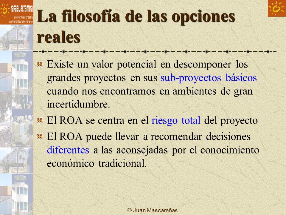 © Juan Mascareñas La filosofía de las opciones reales Existe un valor potencial en descomponer los grandes proyectos en sus sub-proyectos básicos cuan