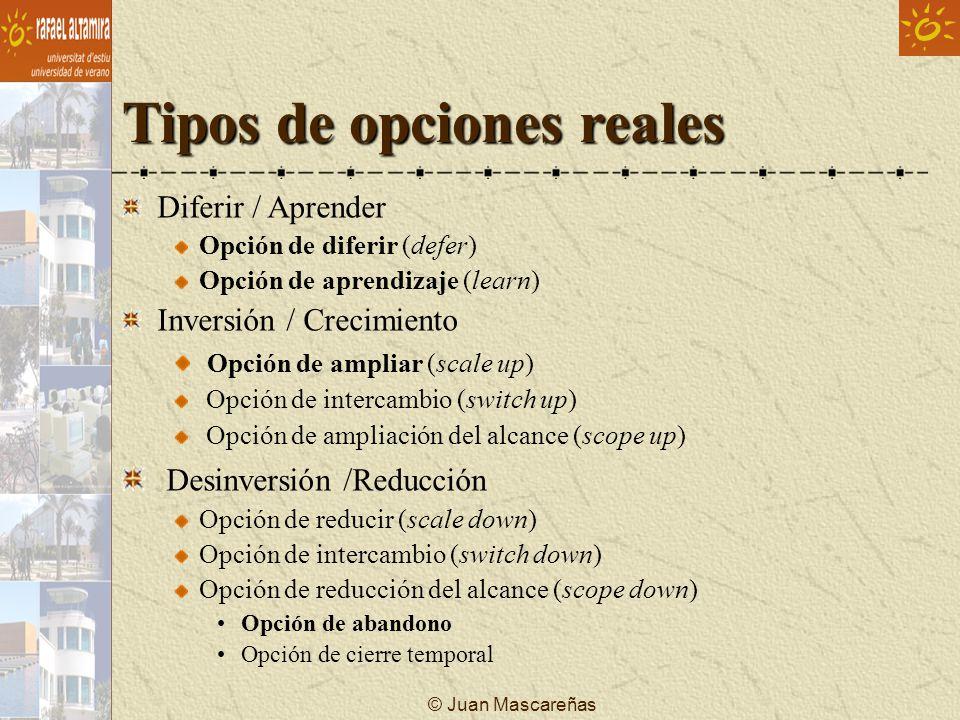© Juan Mascareñas Tipos de opciones reales Diferir / Aprender Opción de diferir (defer) Opción de aprendizaje (learn) Inversión / Crecimiento Opción d