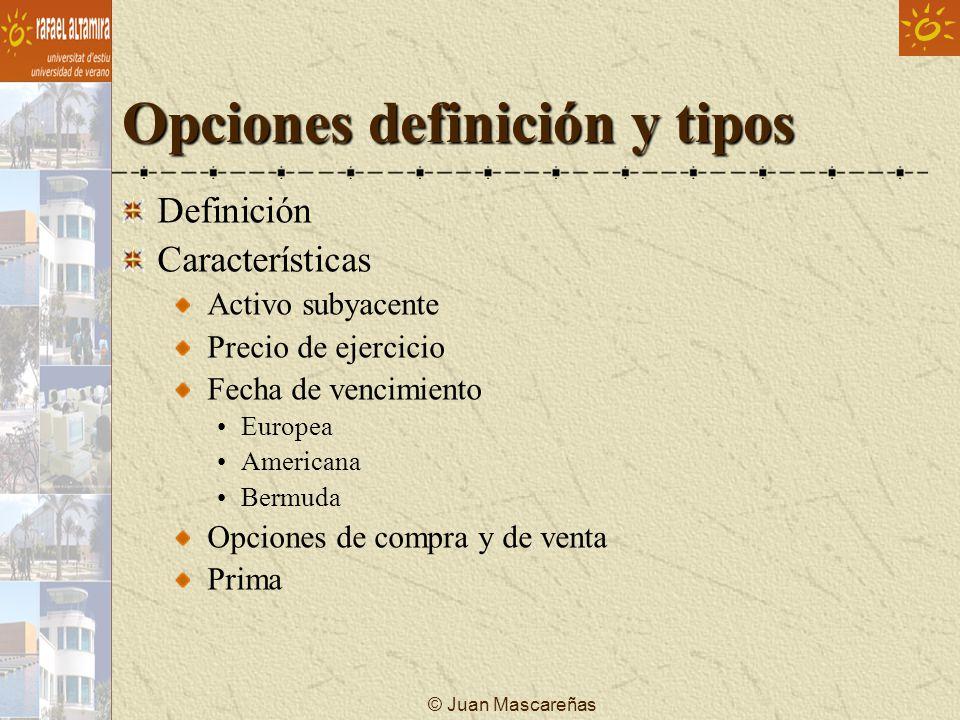 © Juan Mascareñas Opciones definición y tipos ¿Precio de ejercicio Precio del subyacente.