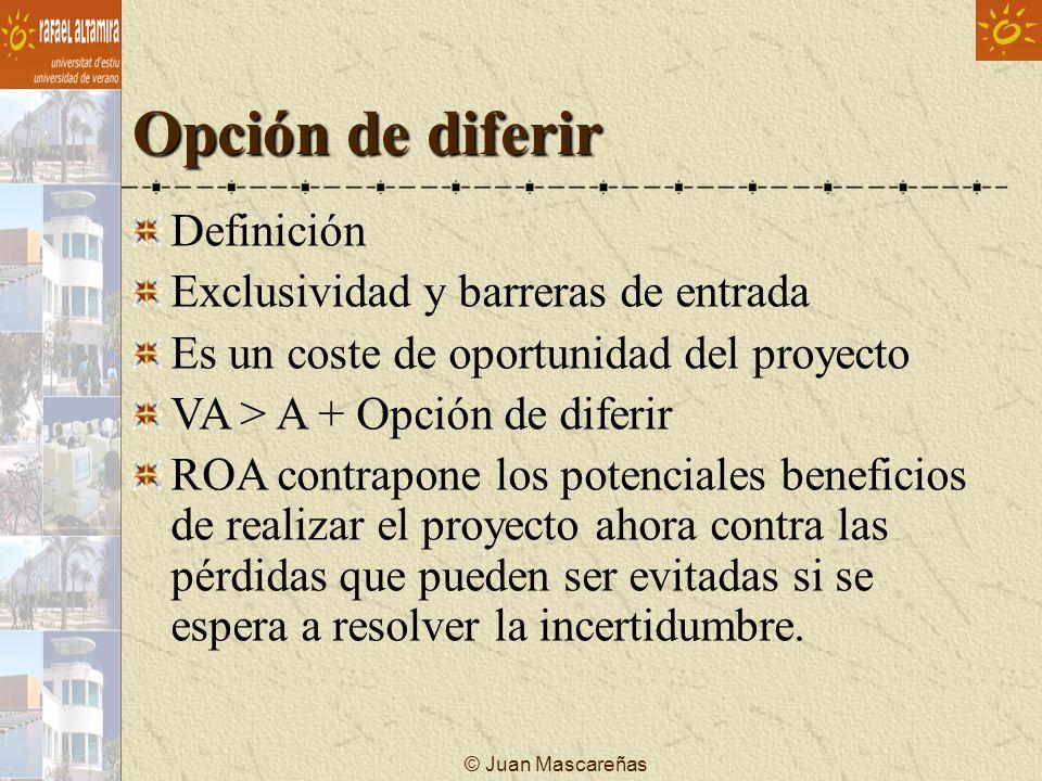 © Juan Mascareñas Opción de diferir Definición Exclusividad y barreras de entrada Es un coste de oportunidad del proyecto VA > A + Opción de diferir R
