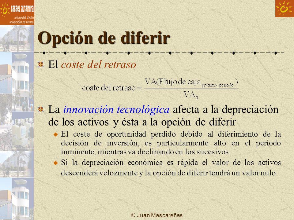 © Juan Mascareñas Opción de diferir El coste del retraso La innovación tecnológica afecta a la depreciación de los activos y ésta a la opción de difer