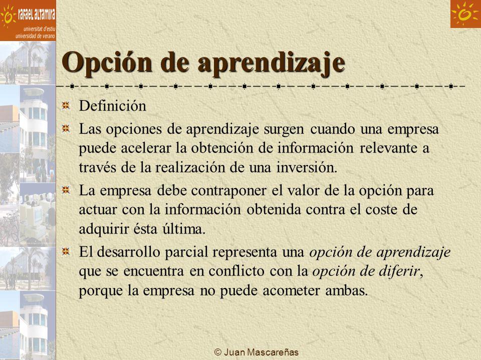 © Juan Mascareñas Opción de aprendizaje Definición Las opciones de aprendizaje surgen cuando una empresa puede acelerar la obtención de información re