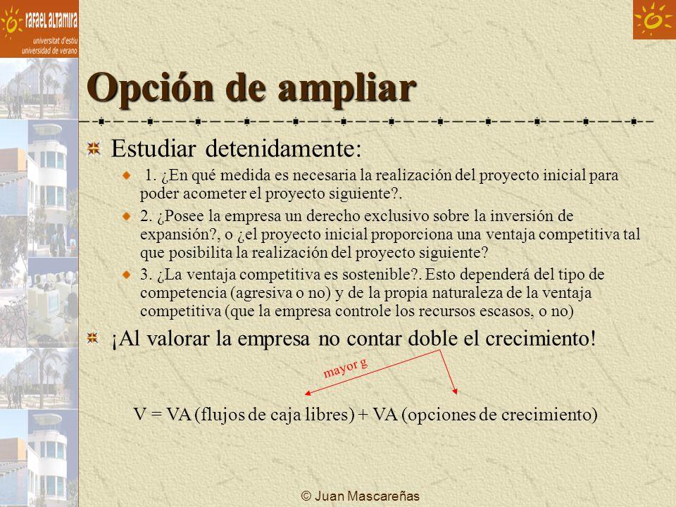© Juan Mascareñas Opción de ampliar Estudiar detenidamente: 1. ¿En qué medida es necesaria la realización del proyecto inicial para poder acometer el