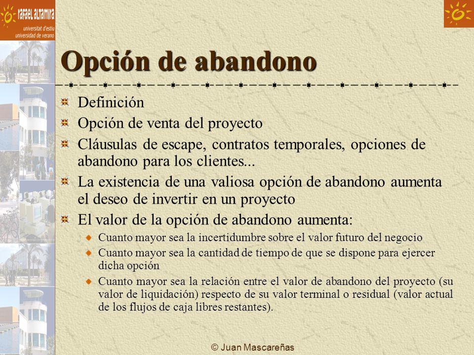 © Juan Mascareñas Opción de abandono Definición Opción de venta del proyecto Cláusulas de escape, contratos temporales, opciones de abandono para los