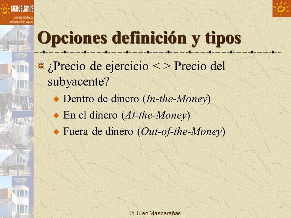 © Juan Mascareñas Opciones definición y tipos ¿Precio de ejercicio Precio del subyacente? Dentro de dinero (In-the-Money) En el dinero (At-the-Money)