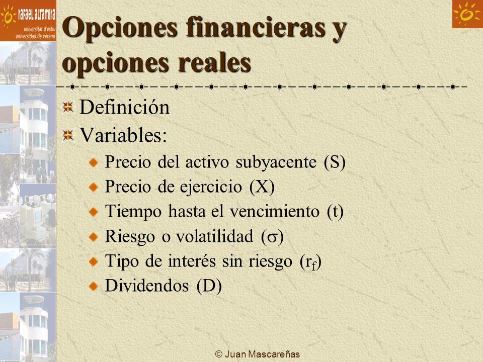 © Juan Mascareñas Opciones financieras y opciones reales Definición Variables: Precio del activo subyacente (S) Precio de ejercicio (X) Tiempo hasta e