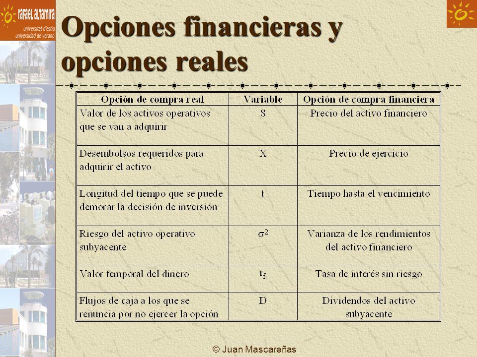 © Juan Mascareñas Opciones financieras y opciones reales Excepciones: Tiempo: Se ve afectado por......
