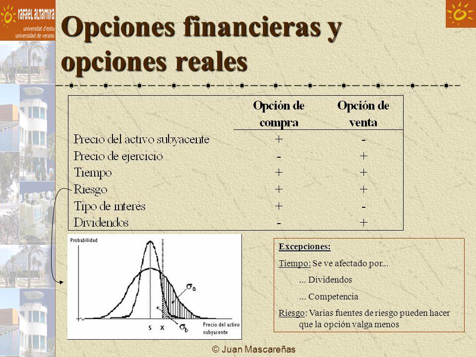 © Juan Mascareñas Opciones financieras y opciones reales Excepciones: Tiempo: Se ve afectado por...... Dividendos... Competencia Riesgo: Varias fuente