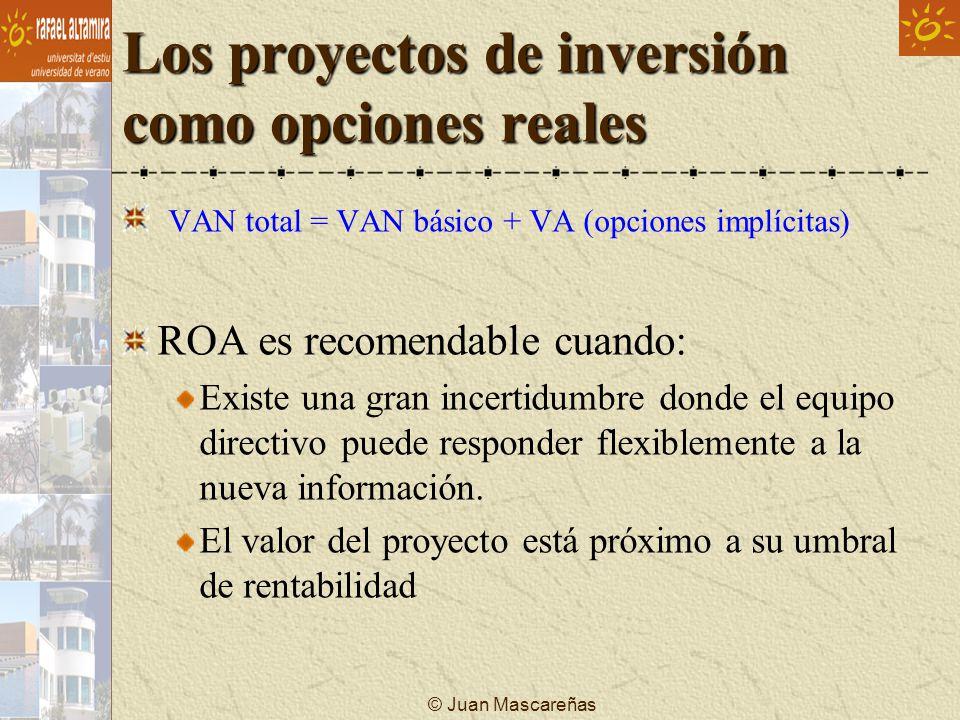 © Juan Mascareñas Los proyectos de inversión como opciones reales VAN total = VAN básico + VA (opciones implícitas) ROA es recomendable cuando: Existe