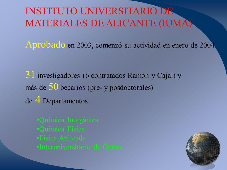 5 grupos de Investigación: Laboratorio de Materiales Avanzados Materiales Carbonosos y Medio Ambiente Electroquímica y Electrocatálisis de Polímeros Química Cuántica Física de la Materia Condensada Unidad Asociada con el CSIC a través del Instituto de Ciencia de Materiales de Madrid