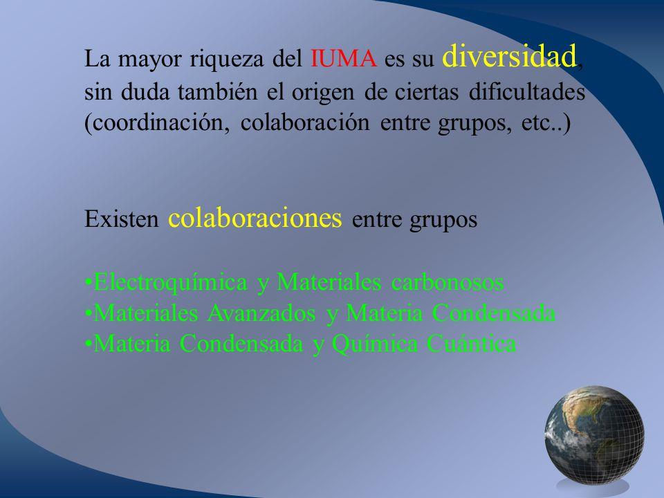 La mayor riqueza del IUMA es su diversidad, sin duda también el origen de ciertas dificultades (coordinación, colaboración entre grupos, etc..) Existen colaboraciones entre grupos Electroquímica y Materiales carbonosos Materiales Avanzados y Materia Condensada Materia Condensada y Química Cuántica