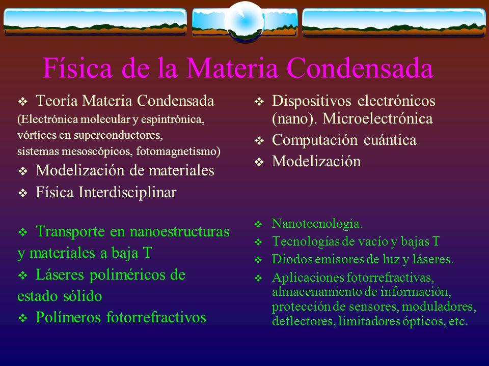Física de la Materia Condensada Teoría Materia Condensada (Electrónica molecular y espintrónica, vórtices en superconductores, sistemas mesoscópicos, fotomagnetismo) Modelización de materiales Física Interdisciplinar Transporte en nanoestructuras y materiales a baja T Láseres poliméricos de estado sólido Polímeros fotorrefractivos Dispositivos electrónicos (nano).