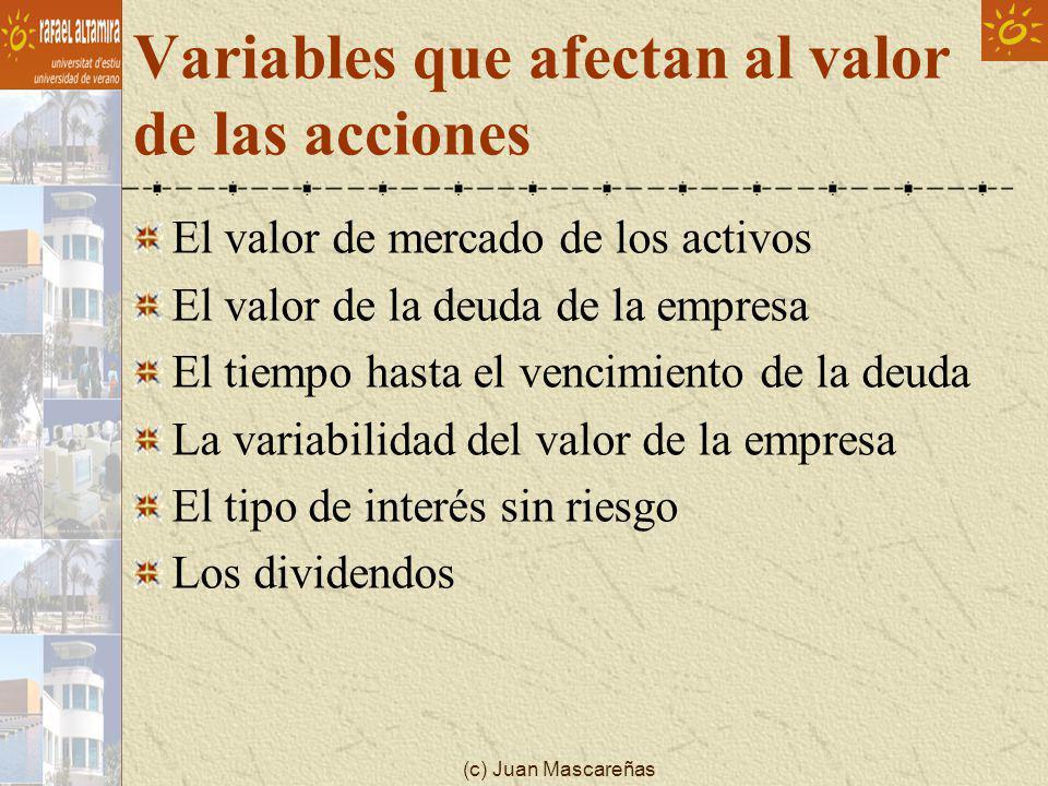 (c) Juan Mascareñas Variables que afectan al valor de las acciones El valor de mercado de los activos El valor de la deuda de la empresa El tiempo has