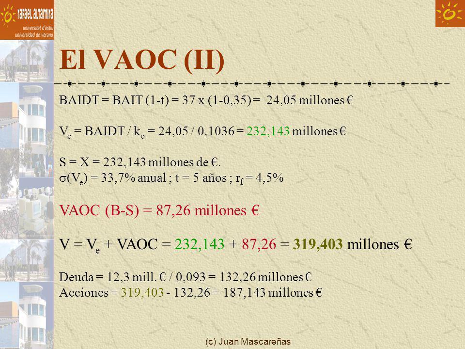 (c) Juan Mascareñas El VAOC (II) BAIDT = BAIT (1-t) = 37 x (1-0,35) = 24,05 millones V e = BAIDT / k o = 24,05 / 0,1036 = 232,143 millones S = X = 232