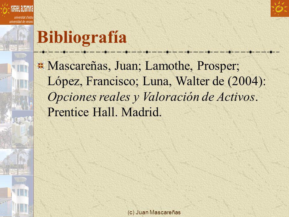 (c) Juan Mascareñas Bibliografía Mascareñas, Juan; Lamothe, Prosper; López, Francisco; Luna, Walter de (2004): Opciones reales y Valoración de Activos