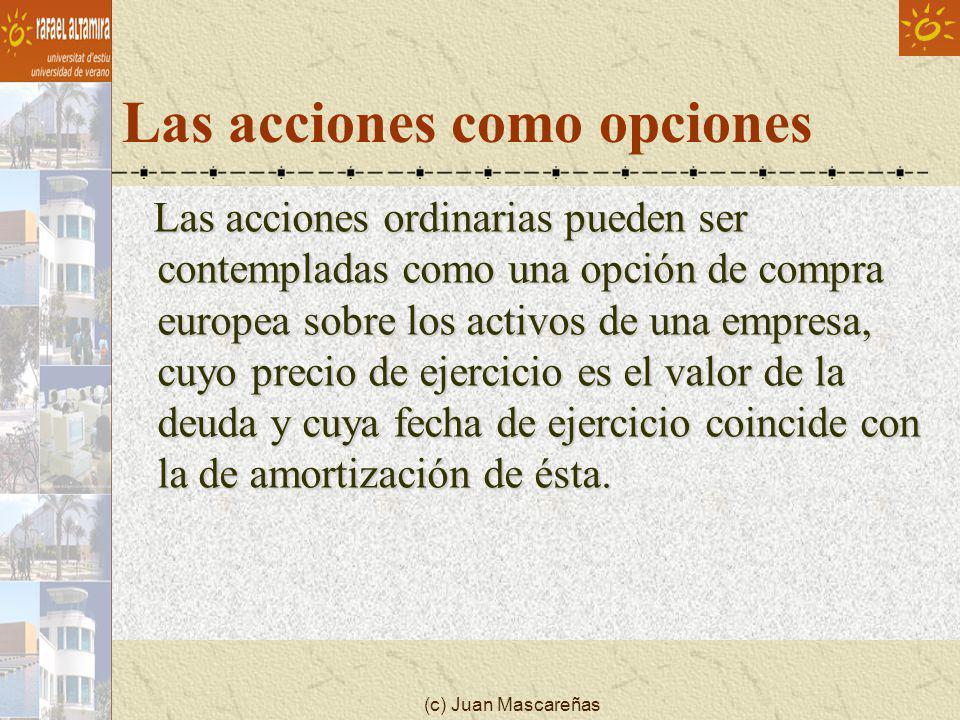 (c) Juan Mascareñas Las acciones como opciones Las acciones ordinarias pueden ser contempladas como una opción de compra europea sobre los activos de