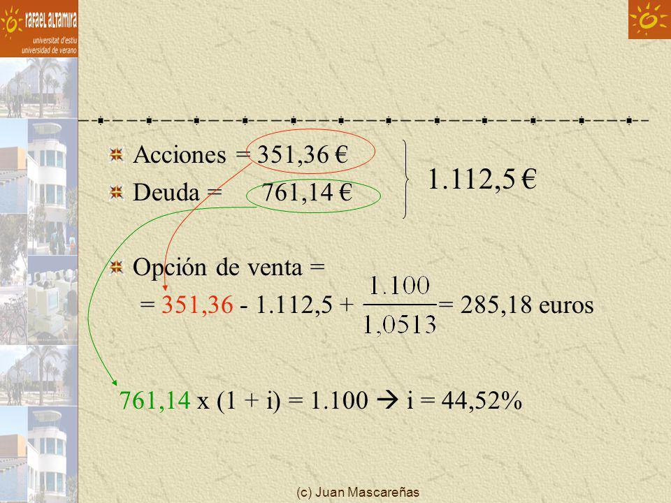 (c) Juan Mascareñas Acciones = 351,36 Deuda = 761,14 Opción de venta = = 351,36 - 1.112,5 + = 285,18 euros 761,14 x (1 + i) = 1.100 i = 44,52% 1.112,5