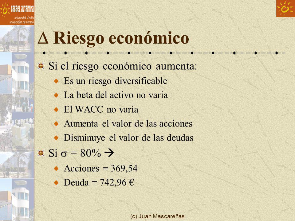 (c) Juan Mascareñas Riesgo económico Si el riesgo económico aumenta: Es un riesgo diversificable La beta del activo no varía El WACC no varía Aumenta