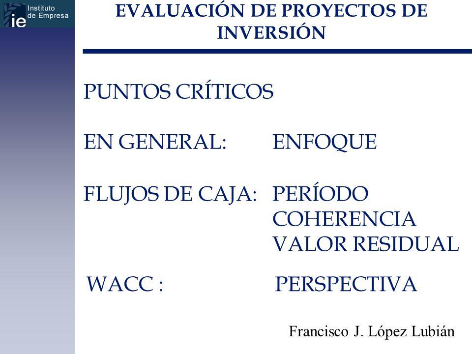 EVALUACIÓN DE PROYECTOS DE INVERSIÓN Francisco J. López Lubián PUNTOS CRÍTICOS EN GENERAL: ENFOQUE FLUJOS DE CAJA:PERÍODO COHERENCIA VALOR RESIDUAL WA