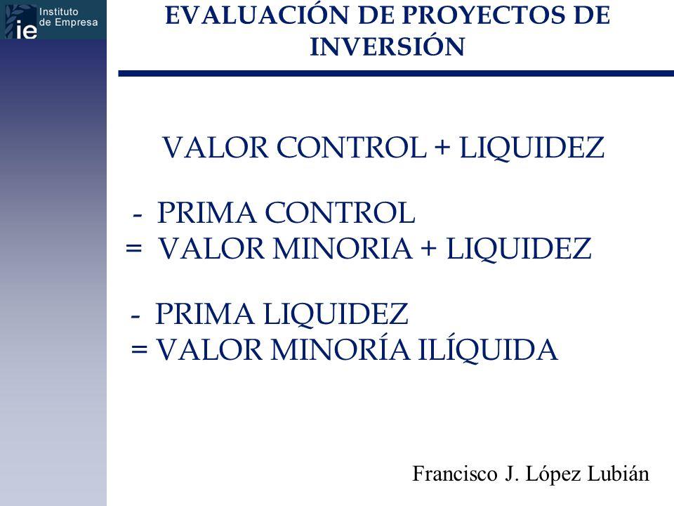 EVALUACIÓN DE PROYECTOS DE INVERSIÓN Francisco J. López Lubián VALOR CONTROL + LIQUIDEZ - PRIMA CONTROL = VALOR MINORIA + LIQUIDEZ - PRIMA LIQUIDEZ =