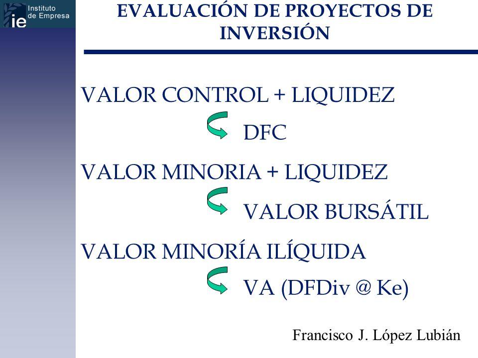 EVALUACIÓN DE PROYECTOS DE INVERSIÓN Francisco J. López Lubián VALOR CONTROL + LIQUIDEZ VALOR MINORIA + LIQUIDEZ VALOR MINORÍA ILÍQUIDA DFC VALOR BURS