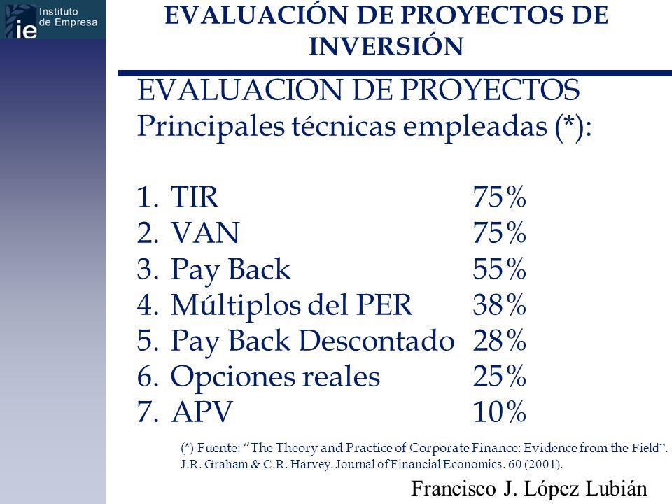 EVALUACIÓN DE PROYECTOS DE INVERSIÓN Francisco J. López Lubián EVALUACION DE PROYECTOS Principales técnicas empleadas (*): 1.TIR75% 2.VAN75% 3.Pay Bac