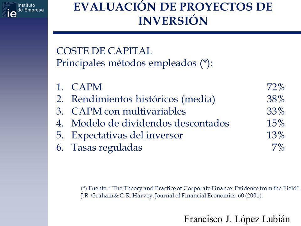 EVALUACIÓN DE PROYECTOS DE INVERSIÓN Francisco J. López Lubián COSTE DE CAPITAL Principales métodos empleados (*): 1.CAPM72% 2.Rendimientos históricos