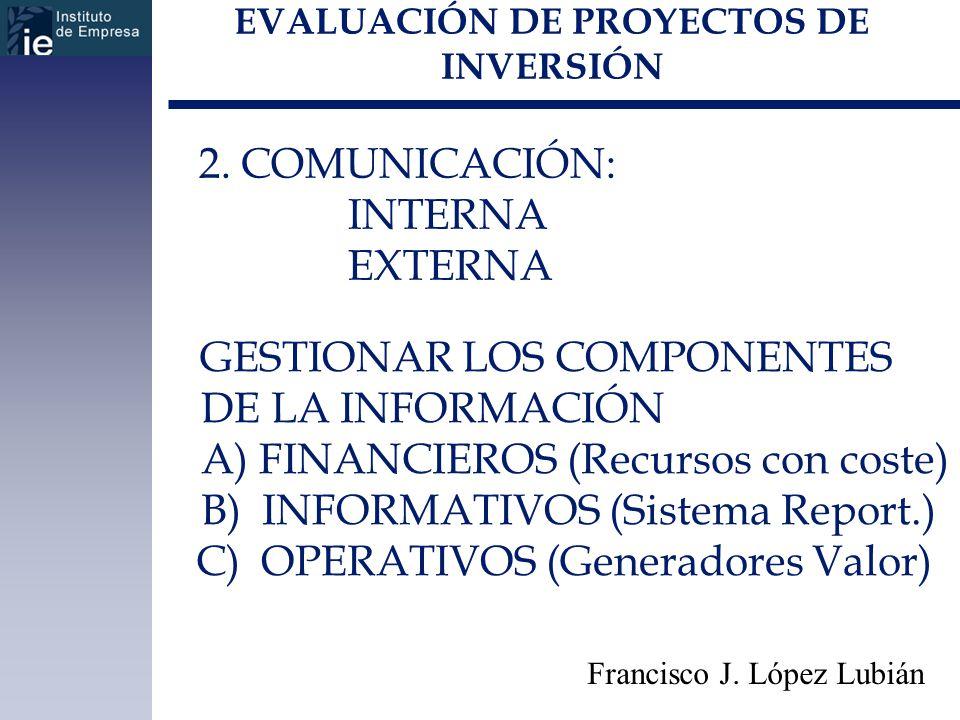 EVALUACIÓN DE PROYECTOS DE INVERSIÓN Francisco J. López Lubián 2. COMUNICACIÓN: INTERNA EXTERNA GESTIONAR LOS COMPONENTES DE LA INFORMACIÓN A) FINANCI