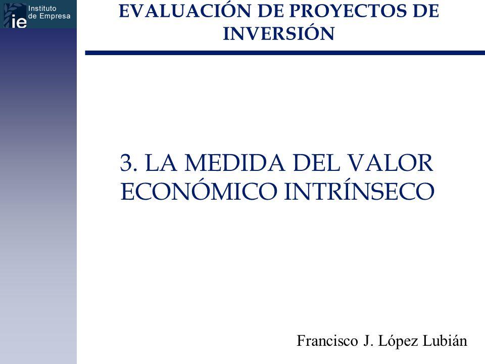 EVALUACIÓN DE PROYECTOS DE INVERSIÓN 3. LA MEDIDA DEL VALOR ECONÓMICO INTRÍNSECO Francisco J. López Lubián
