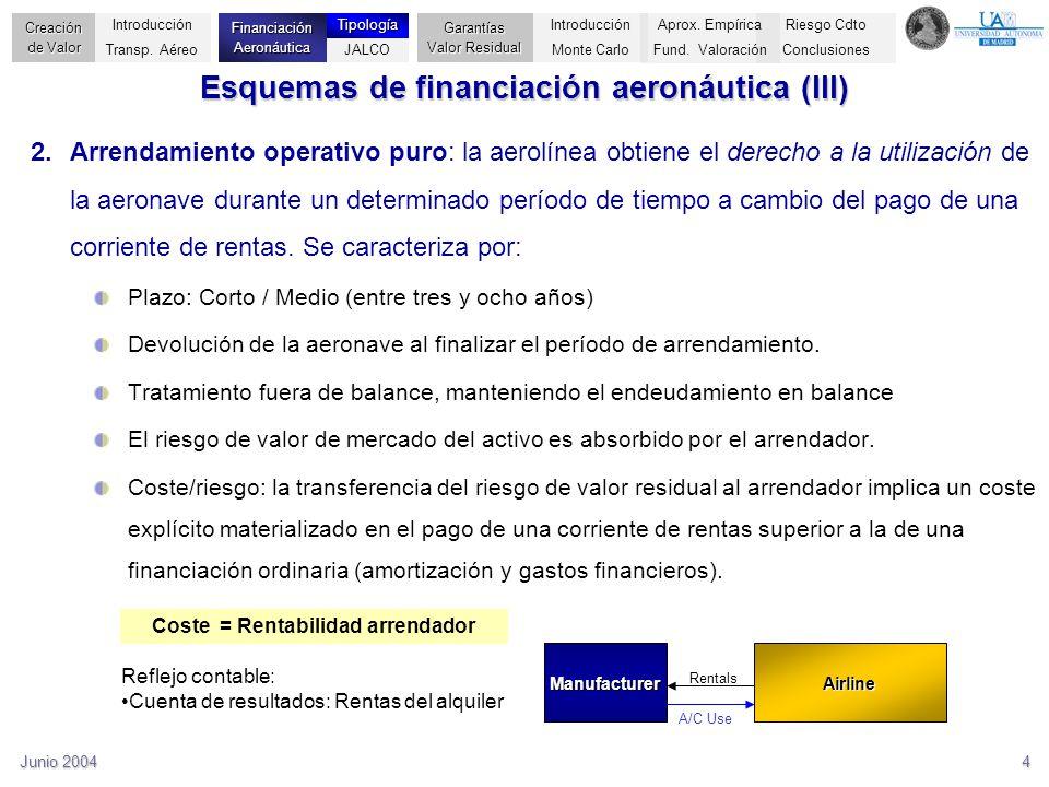 Junio 20044 Esquemas de financiación aeronáutica (III) 2.Arrendamiento operativo puro: la aerolínea obtiene el derecho a la utilización de la aeronave