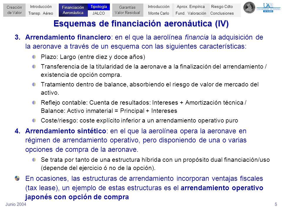 Junio 20045 Esquemas de financiación aeronáutica (IV) 3.Arrendamiento financiero: en el que la aerolínea financia la adquisición de la aeronave a trav
