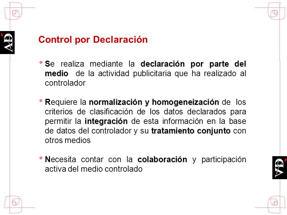 Control por Declaración declaración por parte del medio Se realiza mediante la declaración por parte del medio de la actividad publicitaria que ha rea