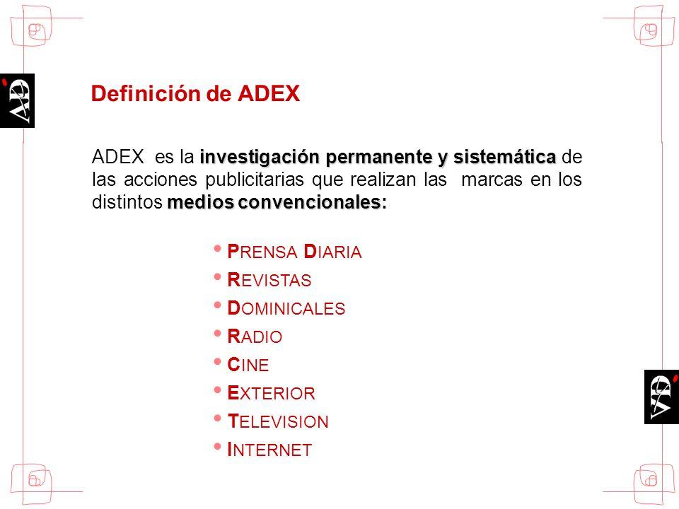 investigación permanente y sistemática medios convencionales ADEX es la investigación permanente y sistemática de las acciones publicitarias que reali