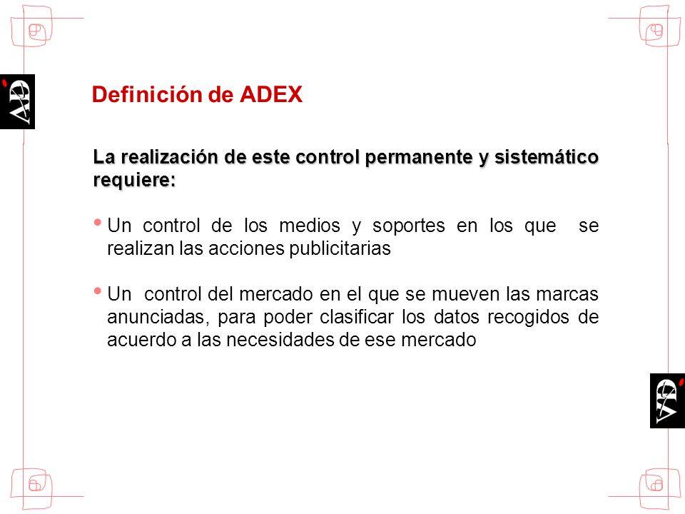 Definición de ADEX La realización de este control permanente y sistemático requiere: Un control de los medios y soportes en los que se realizan las ac