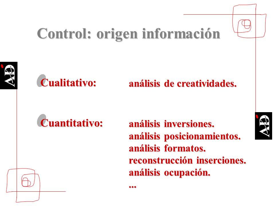 Cualitativo: análisis de creatividades. Cuantitativo: análisis inversiones. análisis posicionamientos. análisis formatos. reconstrucción inserciones.