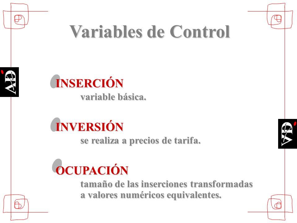 Variables de Control INSERCIÓN variable básica. INVERSIÓN se realiza a precios de tarifa. OCUPACIÓN tamaño de las inserciones transformadas a valores