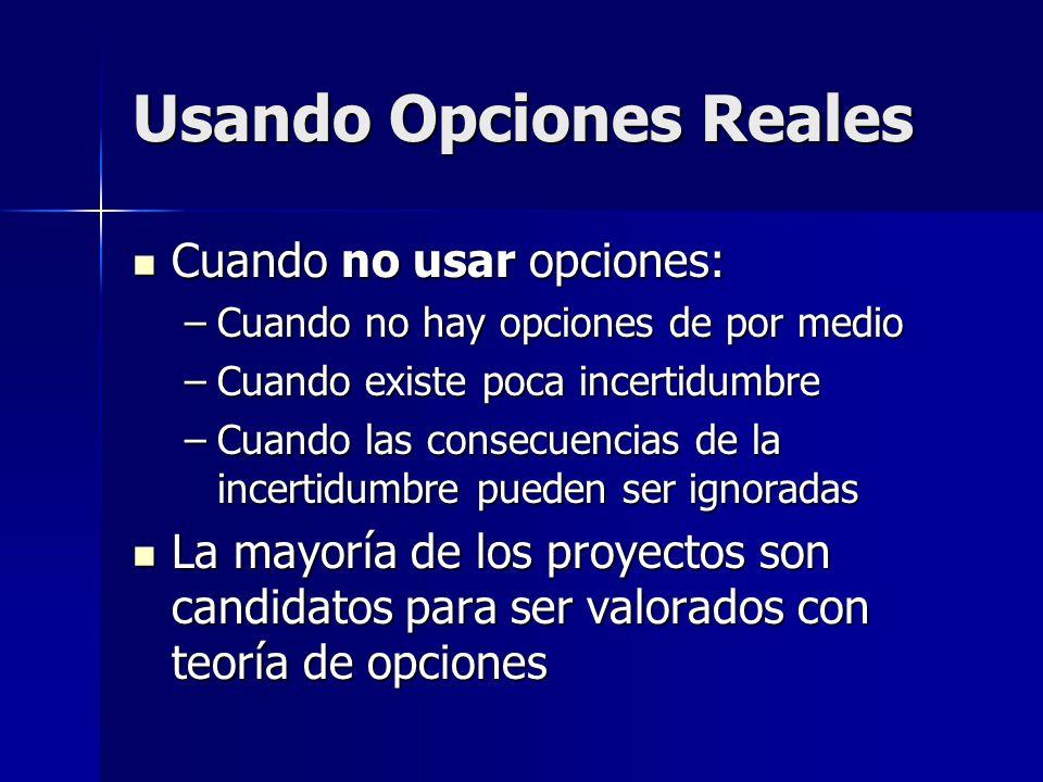 Usando Opciones Reales Cuando no usar opciones: Cuando no usar opciones: –Cuando no hay opciones de por medio –Cuando existe poca incertidumbre –Cuand