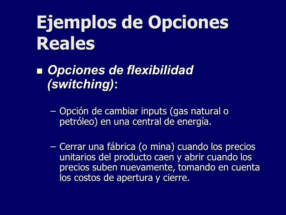 Opciones de flexibilidad (switching): Opciones de flexibilidad (switching): –Opción de cambiar inputs (gas natural o petróleo) en una central de energ