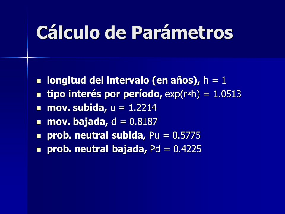 Cálculo de Parámetros longitud del intervalo (en años), h = 1 longitud del intervalo (en años), h = 1 tipo interés por período, exp(r * h) = 1.0513 ti
