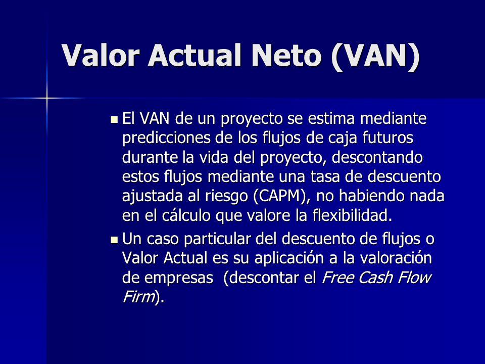 Valor Actual Neto (VAN) El VAN de un proyecto se estima mediante predicciones de los flujos de caja futuros durante la vida del proyecto, descontando