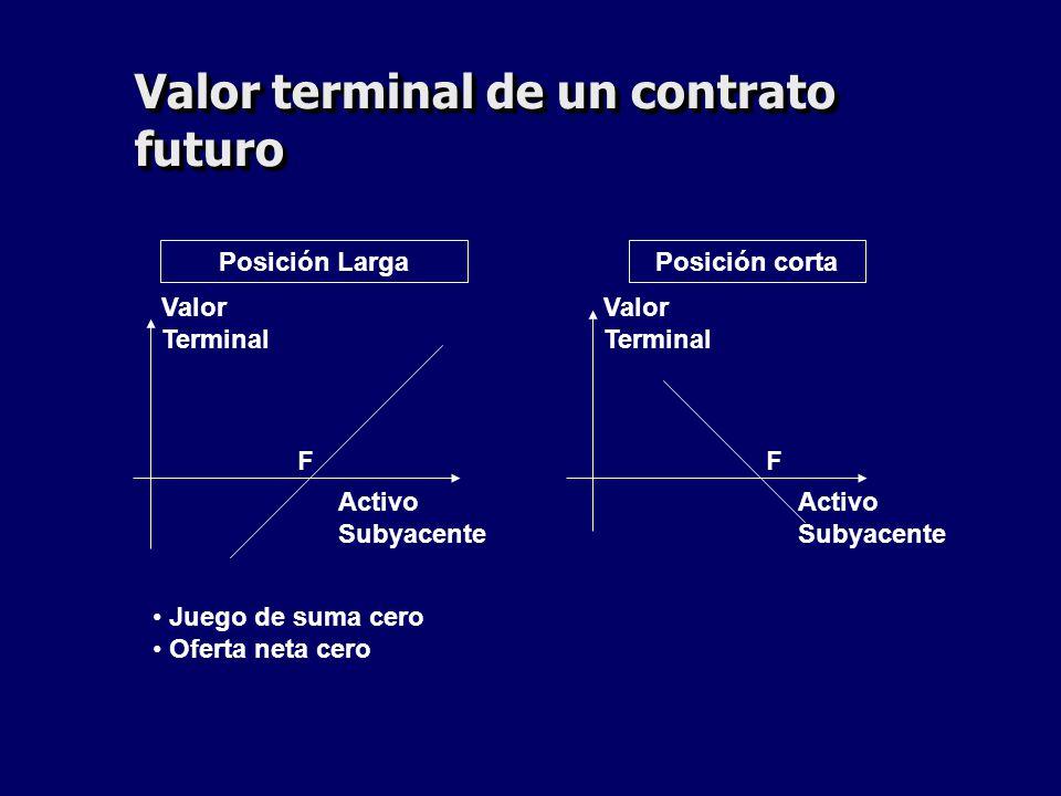 Valor terminal de un contrato futuro Posición LargaPosición corta FF Valor Terminal Valor Terminal Activo Subyacente Activo Subyacente Juego de suma c