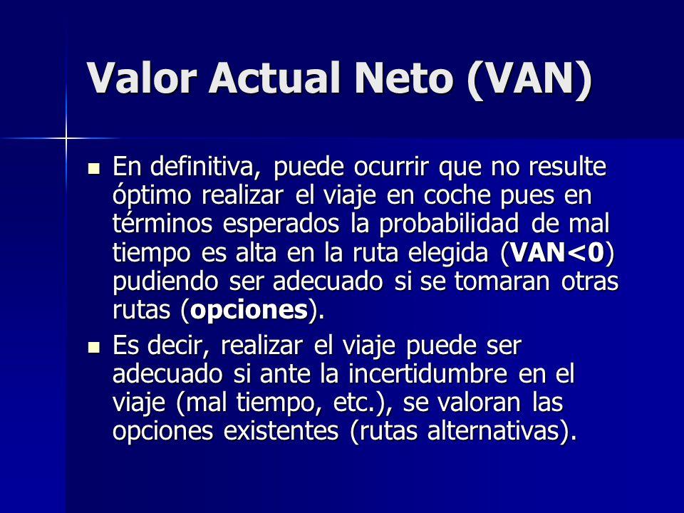 Valor Actual Neto (VAN) En definitiva, puede ocurrir que no resulte óptimo realizar el viaje en coche pues en términos esperados la probabilidad de ma