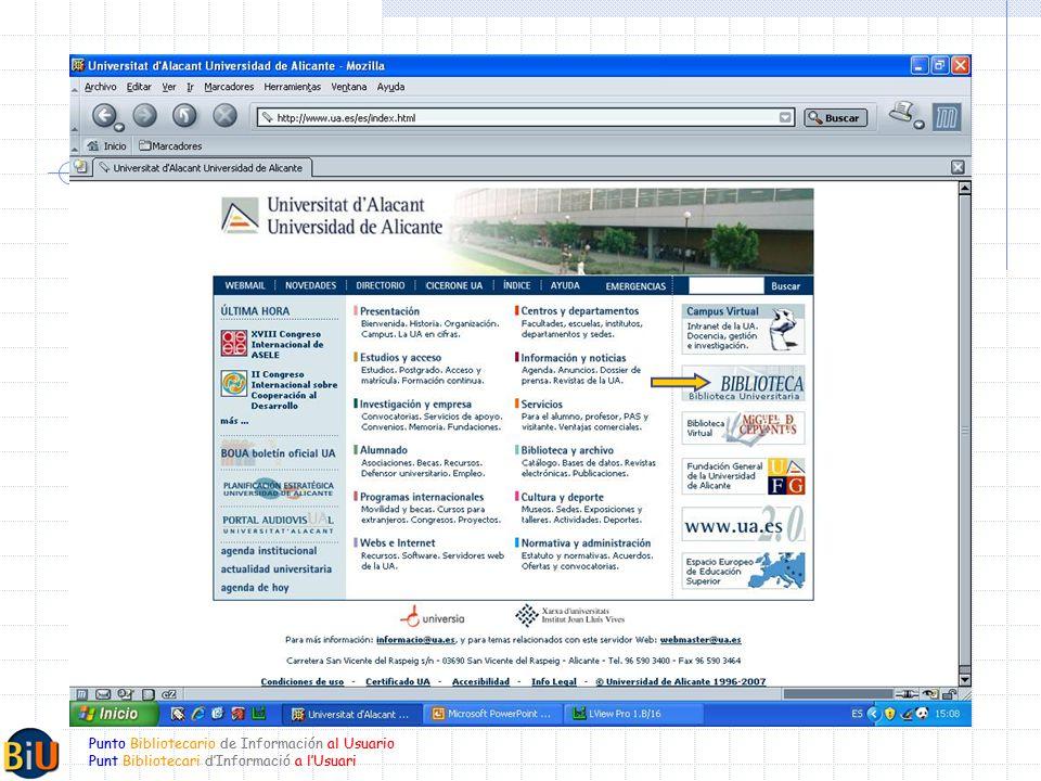 Punto Bibliotecario de Información al Usuario Punt Bibliotecari dInformació a lUsuari Punto Bibliotecario de Información al Usuario Punt Bibliotecari dInformació a lUsuari