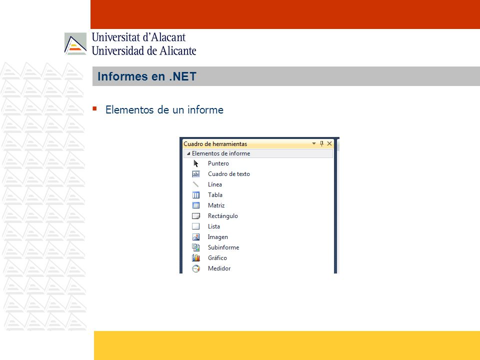 Informes en.NET Elementos de un informe
